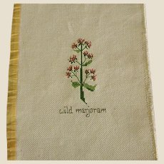 ON HOLD - Cross Stitch of Wild Marjoram Herb