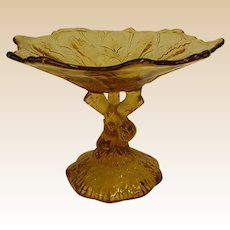 Stunning Portieux-Vallerysthal Amber Leaf and Tree Pattern Compote