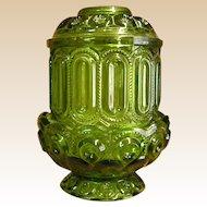 L. E. Smith Moon and Stars Green Fairy Lamp