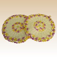 Pristine Crochet Pot Holders Bordered with Pansies