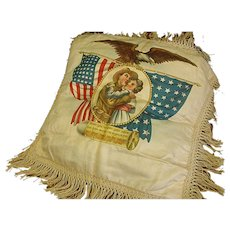 Antique Silk World War I Fringed Pillow Cover
