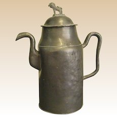 Very Old Hand-Wrought Pewter Pitcher with Lion Finial