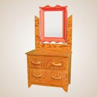 Charming Handmade Folk Art Wood Doll Dresser with Mirror