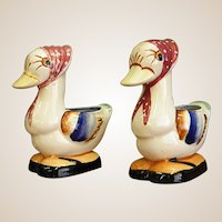 Pair of Small Occupied Japan Duck Planters/Pencil Holders/Match Holders
