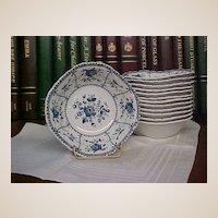 Vintage Johnson Brothers Blue Indies Square Soup/Cereal Bowls