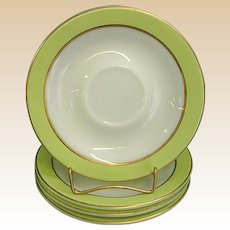 Set of Pyrex Lime Green and White with Gold Trim Saucers