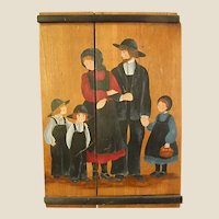 Primitive Painting on Board of Amish Family