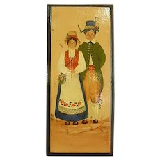 Primitive Signed Painting on Board of Couple in Traditional Bavarian Dress