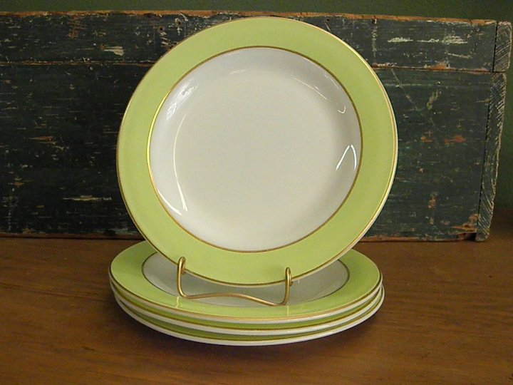 Set of Pyrex Lime Green and White with Gold Trim Dinner Plates & Set of Pyrex Lime Green and White with Gold Trim Dinner Plates ...