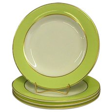 Set of Pyrex Lime Green and White with Gold Trim Salad Plates