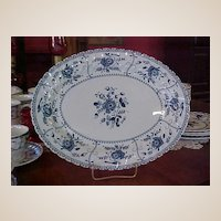 Vintage Johnson Brothers Blue Indies Large Oval Serving Platter