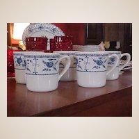 Vintage Johnson Brothers Blue Indies Set of Five Mugs