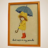 Darling Framed Crewel Needlework Girl with Umbrella