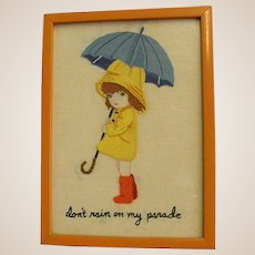 Darling Framed Crewel Needlework Girl with Umbrella