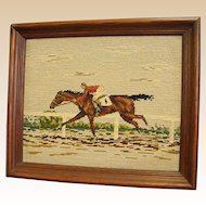 Needlepoint of Thoroughbred Horse Racing to the Finish Line