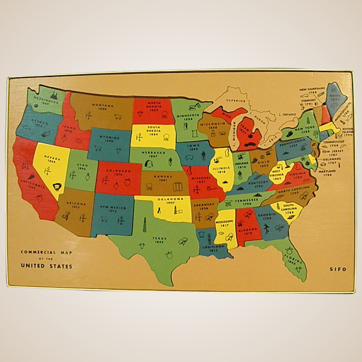 Colorful 1940-50s Wooden USA Map Puzzle Made by Sifo Toys