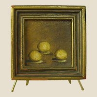 Miniature Signed Painting of Three Lemons