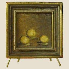 Miniature Signed Painting of Three Lemons