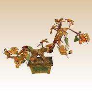 "Mid Century Hardstone Agate ""Jade"" Tree Chinese Sculpture"