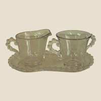 Candlewick by Imperial Glass Individual Creamer and Sugar with Tray