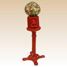 Vintage Miniature Cast Metal Red Gumball Machine