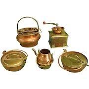 Five Miniature Copper Kitchenware Pieces