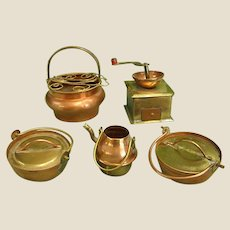 Five Miniature Copper Kitchenware Pieces