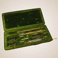 Old Drafting Instruments and Fitted Case