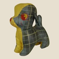Darling Old Oil Cloth Stuffed Plaid Dog