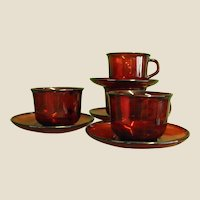 Arcoroc Classique Ruby Rim Cups and Saucers