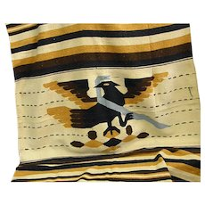 1930-40s Aztec Native Tenochtitlan Hand Woven Wool Blanket