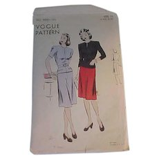 1940s Vogue Skirt and Jacket Pattern Size 12