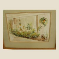 Tranquil Signed Watercolor Garden Room