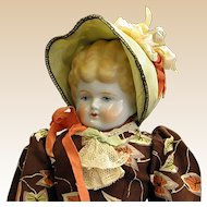 Beautiful Antique German Porcelain Doll with Center Part Blonde Hair