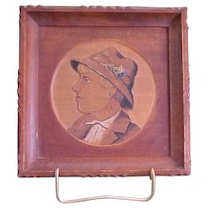 Charming Carved Wood Three-Dimensional Silhouette with Tinted Features