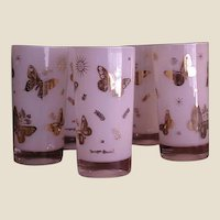 Retro Set of Five Georges Briard White Tumblers with Gold Butterflies