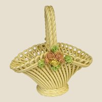 Lovely Larger Capodimonte or Bassano Woven Pottery Basket