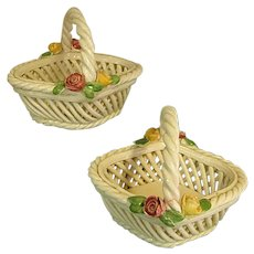 Lovely Pair of Small Capodimonte or Bassano Woven Ceramic Baskets