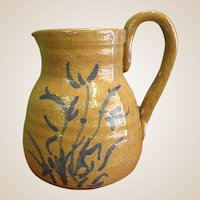 Hand Thrown Signed Pottery Pitcher with Applied Handle