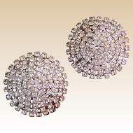 Sparkly Vintage Rhinestone Clip-On Earrings