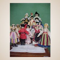 Rare Find!  Set of 14 WPA Ethnically Dressed Dolls