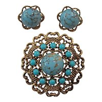 Faux Turquoise Brooch and Earrings Emmons Set Gold tone