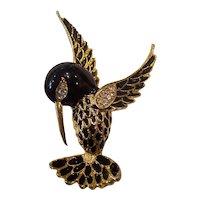 Sphinx Enamel Hummingbird Brooch Gold tone