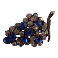 Pretty Bunch of Grapes Blue & AB Rhinestones Silver tone