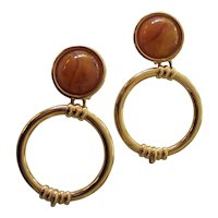 Vintage KJL (Kenneth Jay Lane) Door Knocker Earrings Gold tone Lucite