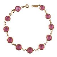 Swarovski Pink Bezel Set Crystal Bracelet Swan Mark Gold tone