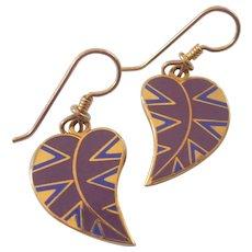 Laurel Burch Enamel Petite Petal Leaf Dangle Earrings Gold tone