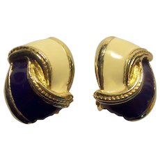 Vintage Gay Boyer Blue and Cream Enamel Earrings Gold tone