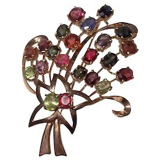 1960's 14K Gold Multi Color Gemstones Bursting Flowers Brooch