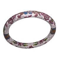 Pretty Hinged Cloisonne Chinese Bangle White with Flowers